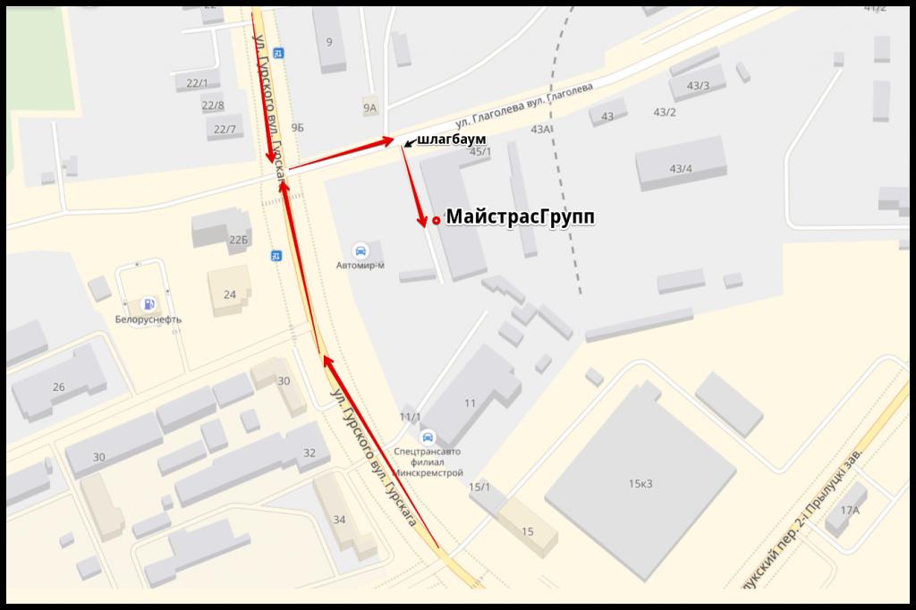 Карта с адресом компании